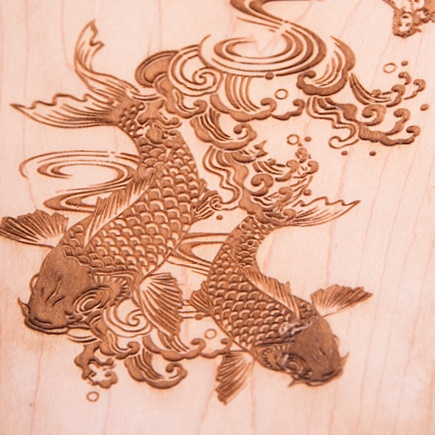 Wood Engrave Koi Fish Project 1-1
